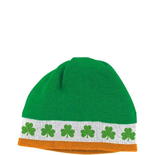 [Amscan St. Patrick's Day Knitted Skull Cap Costume Party Head Wear Accessory (1 Piece), Green, 8] (Extra Head Costume)
