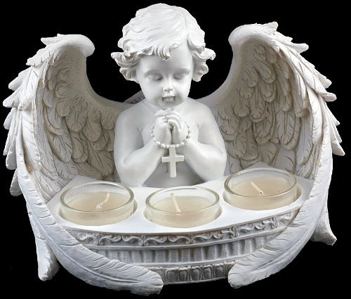 Large Praying Cherub Ornament With 3 Tea Light Candle Holders by Fish Around