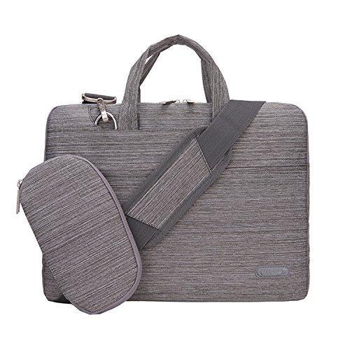 (Linen Laptop Briefcase Bag, HESTECH 12.9-13.5 Inch Dual Layer Protection Tablet/Laptop Universal Sleeve Bag Carrying Case Briefcase with Handle + Pouch Case - Gray)