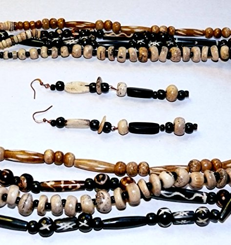 African-Tribal Style 4-Strand Bone Bead Necklace with Long Earrings