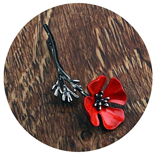 Women Men Enamel Brooch Red Flower Lapel Pin Broach Pins Gifts Jewelry Collar Pins Badge Accessories Crystal Jewelry Poppy Black