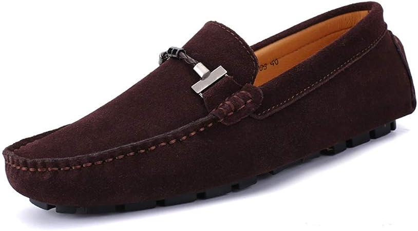 Zhulongjin Mocasines Ocasionales de conducción para Hombres para Hombre Zapatos para Andar clásicos para Caminar Mocasines de Ante Cuero Genuino con Forro Antideslizante Resistente al Desgaste Moda: Amazon.es: Hogar