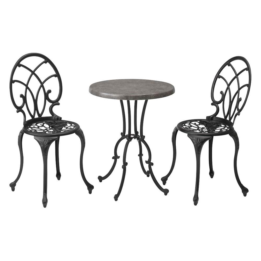 大理石調コンパクトテーブル&チェア 3点セット G52323(サイズはありません イ:ブラック) B07PB946VM イ:ブラック