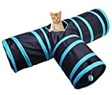 Cat Tunnel Collapsible 3 Way Play Toy - Tube Fun for Rabbit Kitten and Small Dogs PupTeck