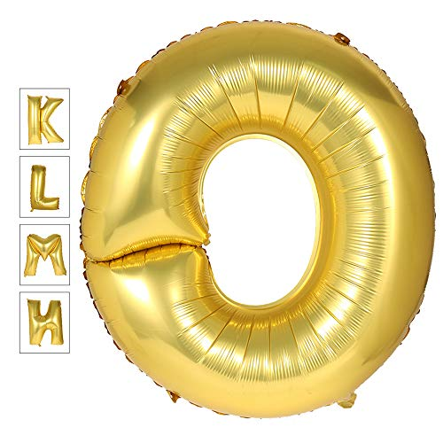 Lovne 40 Inch Jumbo Gold Alphabet O Balloon Giant Prom Balloons Helium Foil Mylar Huge Letter Balloons A to Z for Birthday Party Decorations Wedding Anniversary]()