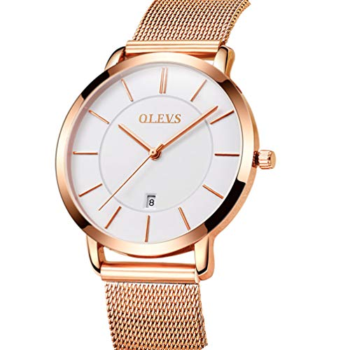 Rose Gold Ultra Thin Watches for Women, Work Office Dress Wristwatches with Date Waterproof White Dial Mesh Steel Milanese Loop Band Watches, Analog Quartz Clock Time Watch Easter Gift for Ladies