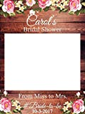 Custom Floral Bridal Shower Photo Booth Frame - Sizes 36x24, 48x36; Personalized Rustic Bridal Shower Decorations, Bridal Shower Photo Prop, wooden Bridal Shower, Handmade Party Supply Photo Booth