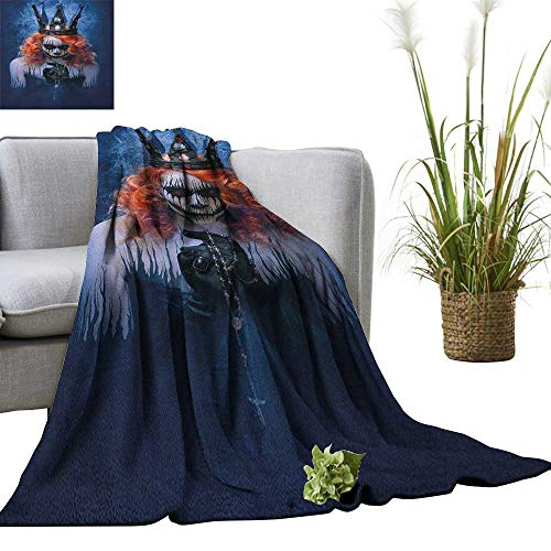 Superlucky Queen Throw Blanket Queen of Death Scary Body Art Halloween Evil Face Bizarre Make Up Zombie 36