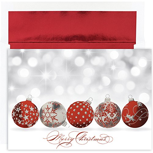 Masterpiece Holiday Collection 16-Count Christmas Cards with Foil Lined Envelopes, Sparkling Ornaments (Current Catalog Cards Christmas)
