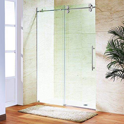 VIGO Elan 52 to 56-in. Frameless Sliding Shower Door  with .375-in. Clear Glass and Stainless Steel Hardware
