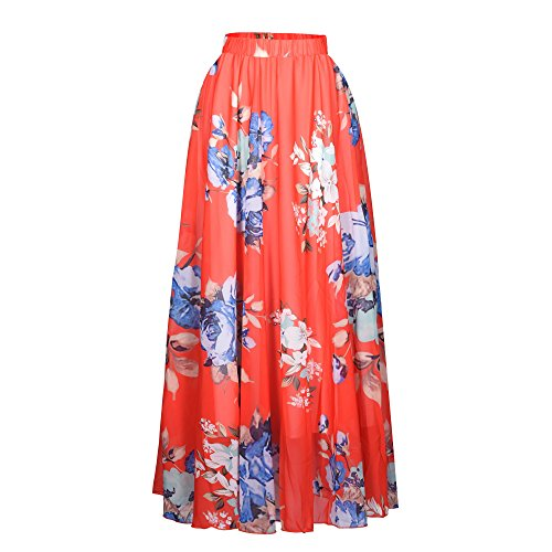 Pretchic Women's Blossom Floral Chiffon Maxi Long Skirt Red Large ()