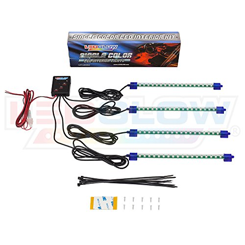LEDGlow 4pc Blue LED Car Interior Underdash Lighting Kit – Universal Fitment – Music Mode – Auto Illumination Bypass Mode