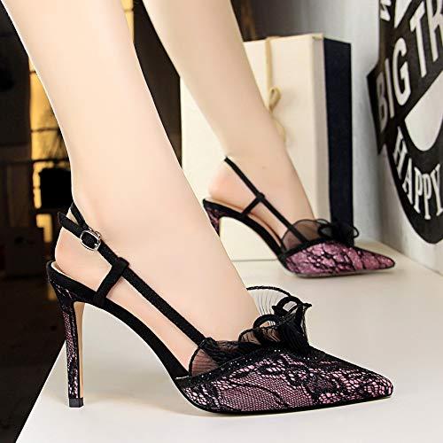 Yukun zapatos de tacón alto Zapatos De Mujer De Otoño Flor Noche Campo Punteado Stiletto Sandalias De Tacón Alto Baotou, 36, Verde Purple