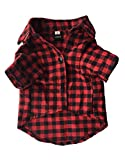 Vedem Casual Dog Plaid Shirt Cotton Pet Western Short Sleeve Shirts Wedding Clothes (XS, Red Black)