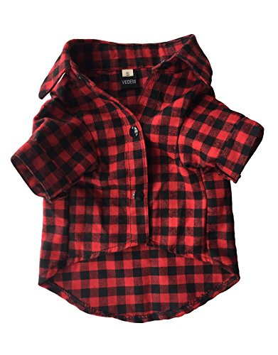 Vedem Casual Dog Plaid Shirt Cotton Pet Western Short Sleeve Shirts Wedding Clothes (XS, Red Black) by Vedem