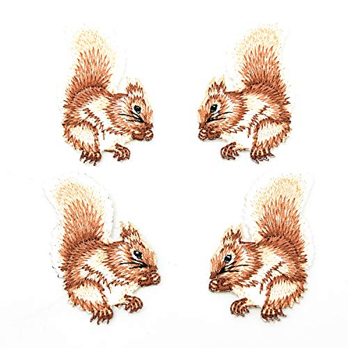 Monrocco 4 Pcs Cute Squirrel Embroidery Patches Iron on Patches Embroidery Applique Patches for Arts Crafts DIY Decor