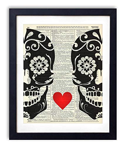Sugar Skull Love Upcycled Vintage Dictionary Art Print Skulls With Heart, Day of the Dead Wall Decor 8x10]()