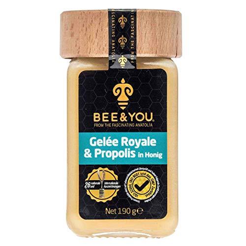 Bee&You Gelée Royale & Propolis in Honig (Roher Honig - non-GMO - Glutenfrei - Glucosefrei - Lactosefrei - Natürliche & kontrollierte Zutaten)
