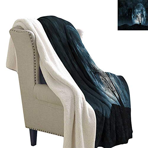 Benmo House Lightweight Blanket Fantasy,Night Moon Sky with Tree Silhouette Gothic Halloween Colors Scary Artsy Background,Slate Blue Throw Blanket 60x47 Inch]()