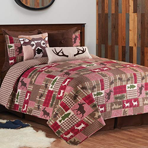 3 Piece Brown Red Plaid King Quilt Set, Lodge Animal Print Themed Bedding, Cabin Country Sqaures Tartan Lumberjack Pattern Cottage Woods Hunting Deer Moose Evergreen Tree Rugby Stripes, ()