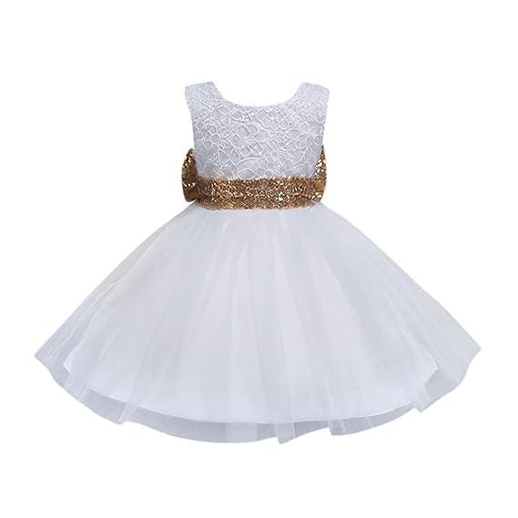 Lonshell Vestido de Flores Fiesta Niña Bowknot Vestido de Princesa Boda Infantil Elegante Bautizo Ceremonia Niña