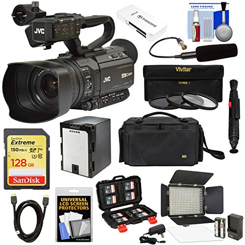 JVC GY-HM250U Ultra 4K HD 4KCAM Professional Camcorder & Top Handle Audio Unit with XLR Microphone + 128GB Card + Battery + Case + LED Video Light Kit (Jvc Video Recorder)