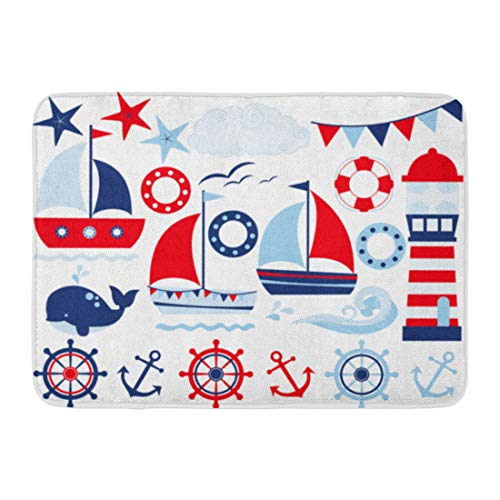 - Emvency Doormats Bath Rugs Outdoor/Indoor Door Mat Navy Boat Sailing Away Boy Blue Sailor Sail Baby Sailboat Cute Bathroom Decor Rug Bath Mat 16