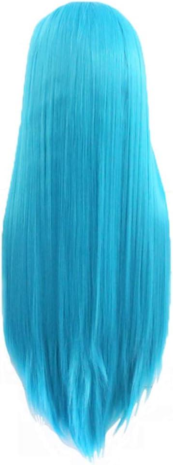 wig Peluca de niña, Cabello lacio de Pelo Largo Azul, Gorra ...