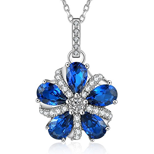 Caperci Sterling Silver Pear-Shaped Created Blue Sapphire Gemstone Pinwheel Pendant Necklace for Women, 18'' (Pendant Blue Gem Necklace)