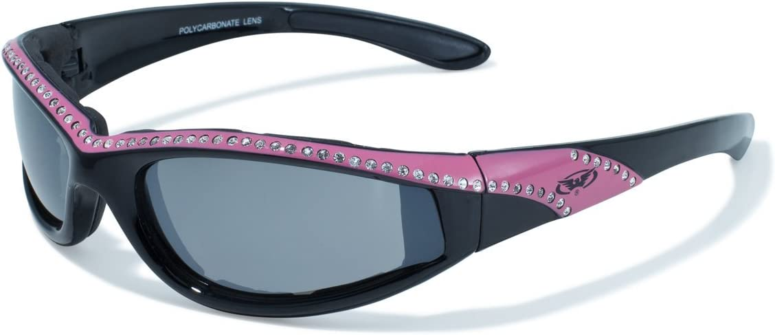 Marilyn Women/'s Foam Padded Motorcycle ATV Riding Glasses with Smoke Lens