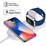 Goltron Watch Charger Pad Wireless Watch Charging Stand Ultra-Thin 2 in 1 Fast Dual Qi Wireless Charging Pad Compatible for Apple Watch Series 1/2/3 iPhone X 8 8 Plus Samsung Galaxy