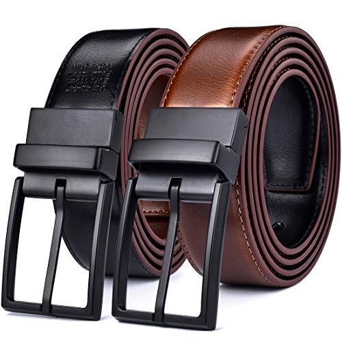Beltox Fine Men's Dress Belt Leather Reversible 1.25' Wide Rotated Buckle Gift Box(Black/Light Brown Belt with 0440 Black Buckle,36-38)