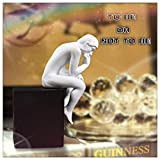 Modern Thinker Sculpture Body Art Sculpture Home Decor Resin Crafts/Artware, Creative Home Furnishings, Gifts, Bookends, Color :White