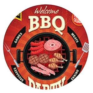 alfombrilla de ratón Diseño del cartel del menú de la fiesta de barbacoa de la vendimia - ronda - 20cm
