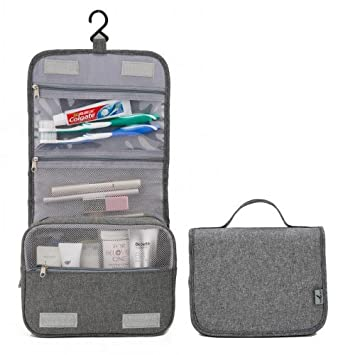 a56d1308d330 Amazon.com   Women Men Large Waterproof Makeup Bag Travel Beauty Cosmetic  Bag Organizer Case Necessaries Make Up Toiletry Bag New Gray   Beauty
