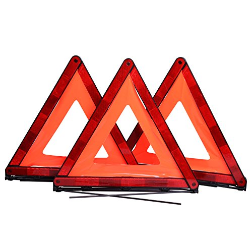 CARTMAN Foldable Warning Triangle Emergency Warning Triangle Reflector Safety Triangle Kit, 3-Pack, NO Storage Case