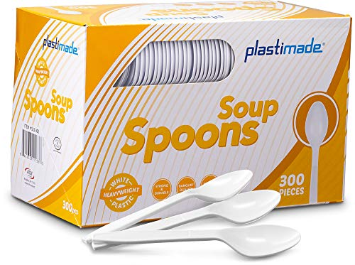 Plastimade Extra Heavyweight White Plastic Disposable Soup Spoons. 300 - Soup Plastic White Spoon