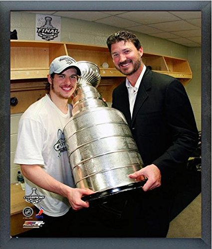 "Sidney Crosby & Mario Lemieux Pittsburgh Penguins 2009 NHL Stanley Cup Trophy Photo (Size: 12"" x 15"") Framed"