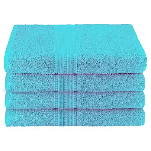 Superior Ringspun Cotton, 4 PC Bath Towel Set(27 x 54)-Turquoise