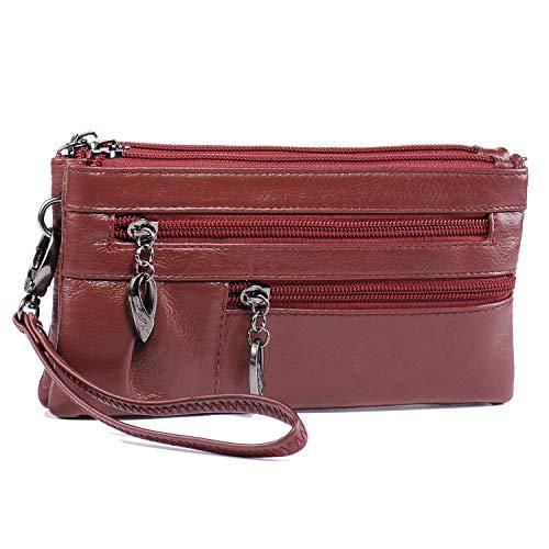 Crossbody Wristlet Genuine Leather Purse for Women Girls Wallet Clutch Handbag with Strap Ladies Mini Cell Phone Bag Katloo (Burgundy)
