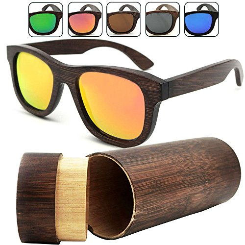 iSunHot 1-Pack Orange Lens Bamboo Wood sunglasses with Polarized UV Protection Lens in Vintage Wayfarer Style - Authentic Natural Frame for Men / Women Handmade Eyeglasses at the - Ray Wood Effect Bans
