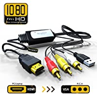 HDMI to RCA Adapter Cable – HDMI to AV Converter Converts Digital HDMI signal to Analog 3RCA/AV - Works for TV/ for HDTV/ PC/DVD/PAL/NTSC to TV/VCR/DVD/Car Convert Composite Cable