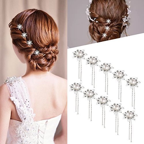 Decorative Hair Clip (ROSENICE Wedding Hair Pins Bridal Silver Flower Pearl Rhinestone Decorative U-Shaped Hair Pins Clips for Women Buns,10PCS)