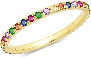 Sweepstakes: FIENFEY Rainbow Ring Eternity Stacking Band Ring for Women