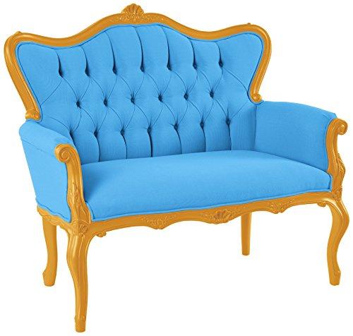 POLaRT Designs 770B_DL_SAU Loveseat with Canvas Capri Upholstery, Trofeo Gold Finish
