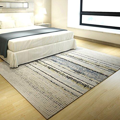 Rug Carpets Carpet Carpet simple modern blended striped living room bedroom coffee table sofa room bedside square rectangular carpet (Size : (Blended Mild Coffee)