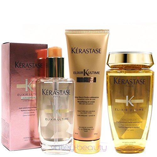 - Kérastase Elixir Ultime Huile Lavante Bain 250ml, Crème Fine 150ml And Coloured Hair Oil 100ml Bundle