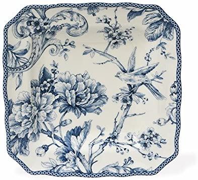 Amazon Com 222 Fifth Adelaide Blue White Salad Plates Set Of