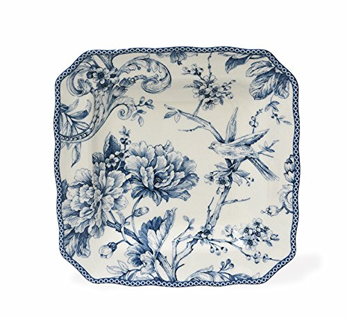 (222 Fifth Adelaide Blue & White Salad Plates, Set of 4, Square)
