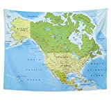Emvency Tapestry Polyester Fabric Print Home Decor Highly Detailed Political Map with Separated Layers North and Central America Wall Hanging Tapestry for Living Room Bedroom Dorm 60x80 inches
